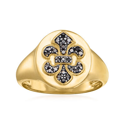 .15 ct. t.w. Black Diamond Fleur-De-Lis Ring in 18kt Gold Over Sterling