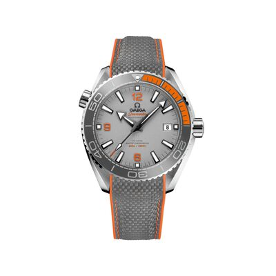 Omega Seamaster Planet Ocean Men's 43.5mm Titanium Watch with Gray and Orange Rubber Strap, , default