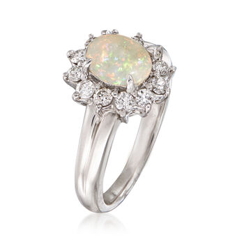 C. 1990 Vintage Opal and .50 ct. t.w. Diamond Ring in Platinum. Size 6.5, , default