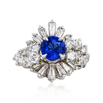 C. 1970 Vintage 1.00 Carat Sapphire and 2.00 ct. t.w. Diamond Cluster Ring in Platinum. Size 7, , default