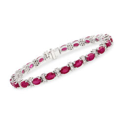 12.00 ct. t.w. Ruby and 1.90 ct. t.w. Diamond Tennis Bracelet in 14kt White Gold , , default