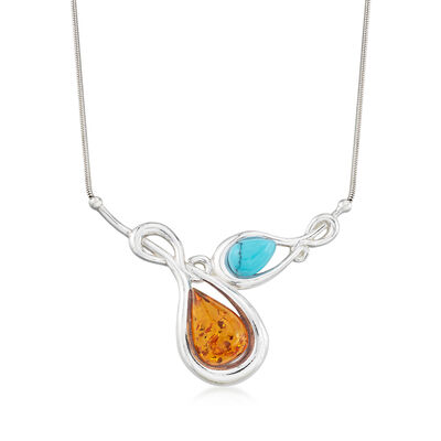 Amber and Blue Howlite Necklace in Sterling Silver, , default