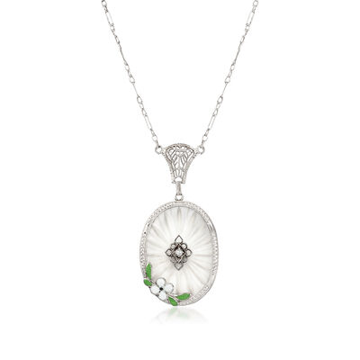 C. 1950 Vintage Frosted Glass Oval Pendant Necklace With Enamel Flower and Diamond Accent in 14kt White Gold, , default