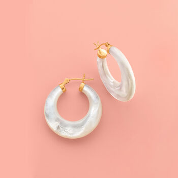 "Mother-Of-Pearl Hoop Earrings in 14kt Yellow Gold. 1 1/8"", , default"