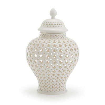 White Carthage Medium Pierced Porcelain Lantern, , default