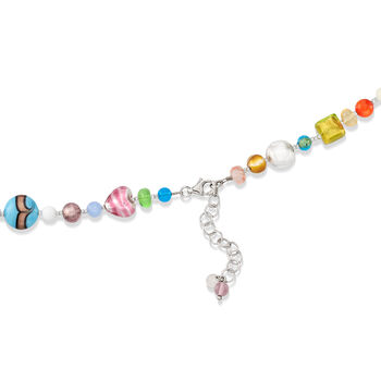 """Italian Multicolored Murano Glass Bead Necklace with Sterling Silver. 18"""", , default"""