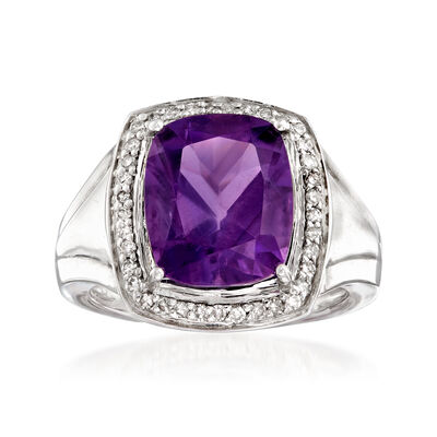 4.10 Carat Amethyst and .24 ct. t.w. Diamond Ring in Sterling Silver, , default