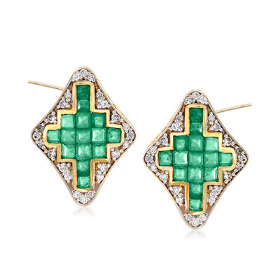 1.70 ct. t.w. Emerald and .28 ct. t.w. Diamond Earrings in 14kt Yellow Gold, , default
