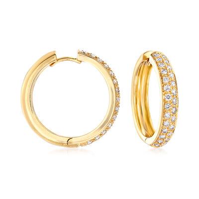 C. 1990 Vintage 1.25 ct. t.w. Diamond Hoop Earrings in 18kt Yellow Gold, , default