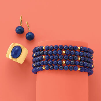 Blue Lapis Jewelry Set: Five Beaded Bracelets with 14kt Yellow Gold, , default