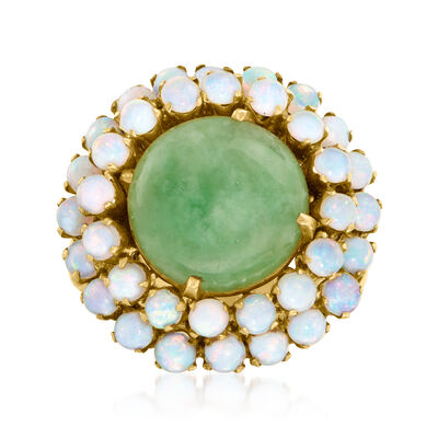 C. 1940 Vintage Jade and Opal Ring in 14kt Yellow Gold