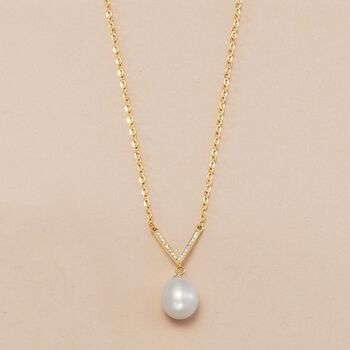 8-8.5mm Cultured Pearl V-Necklace with Diamond Accents in 18kt Yellow Gold