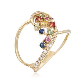 .46 ct. t.w. Multicolored Sapphire and .21 ct. t.w. Diamond Open-Loop Ring in 14kt Yellow Gold, , default