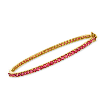4.95 ct. t.w. Ruby Bangle Bracelet in 18kt Gold Over Sterling