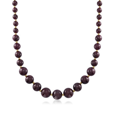 280.00 ct. t.w. Graduated Garnet Bead Necklace with 14kt Yellow Gold, , default