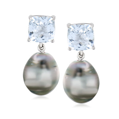 12-12.5mm Cultured Black Tahitian Pearl and 10.00 ct. t.w. Aquamarine Drop Earrings in Sterling Silver, , default
