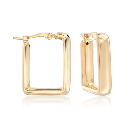 14kt Yellow Gold Small Square Hoop Earrings, , default