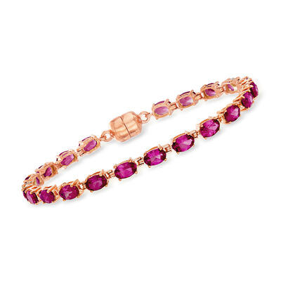 10.00 ct. t.w. Rhodolite Garnet Tennis Bracelet in 18kt Rose Gold Over Sterling with Magnetic Clasp