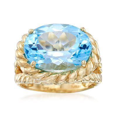 10.00 Carat Blue Topaz Twist Ring in 14kt Yellow Gold, , default