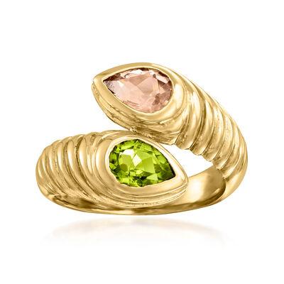 C. 1980 Vintage Bulgari .75 Carat Peridot and .70 Carat Pink Tourmaline Bypass Ring in 18kt Yellow Gold