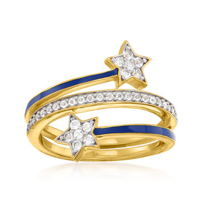 .70 ct. t.w. White Topaz and Blue Enamel Star Ring in 18kt Gold Over Sterling