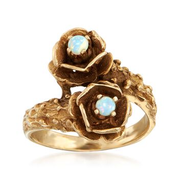 C. 1970 Vintage Opal Floral Bypass Ring in 14kt Yellow Gold. Size 5.75, , default