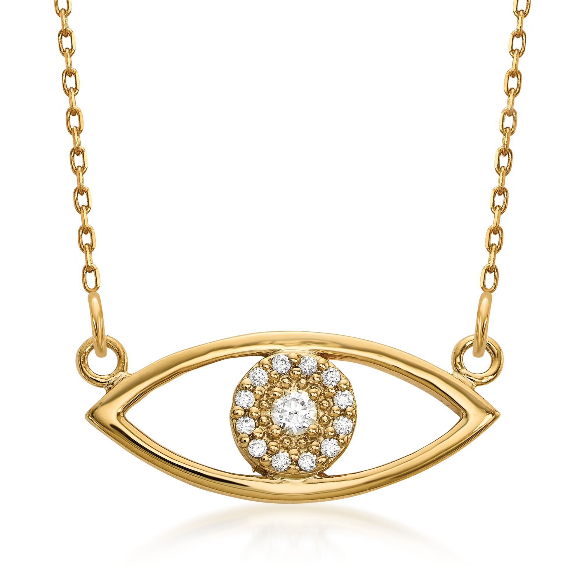GOLD NECKLACE 14KT GOLD ADJUSTABLE CUT OUT EVIL EYE NECKLACE