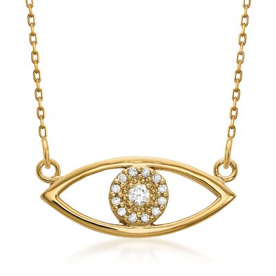 14kt Yellow Gold Evil Eye Necklace in 14kt Yellow Gold, , default