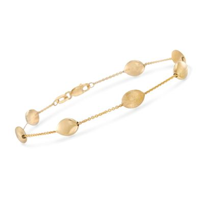 14kt Yellow Gold Pebble Station Bracelet, , default