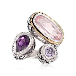 Andrea Candela Rose Quartz and 1.50 ct. t.w. Pink and Purple Amethyst Ring in Sterling Silver and 18kt Gold. Size 7, , default