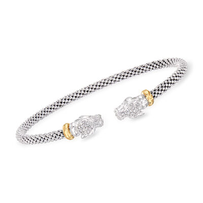 """Phillip Gavriel """"Popcorn"""" .15 ct. t.w. Diamond Panther Cuff Bracelet in Sterling Silver and 18kt Yellow Gold, , default"""