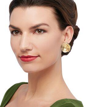 Italian 18kt Gold Over Sterling Spiral Shell Earrings
