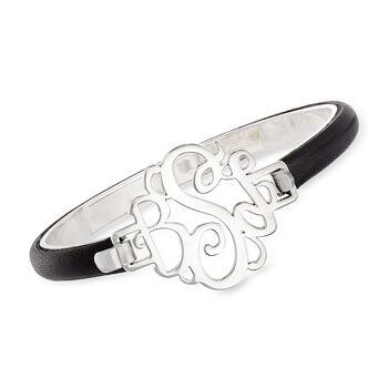 Sterling Silver Monogram Bracelet with Leopard Leather