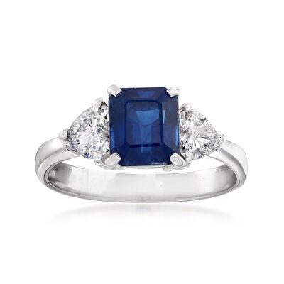 C. 1990 Vintage 2.31 Carat Sapphire and .68 ct. t.w. Diamond Ring in Platinum