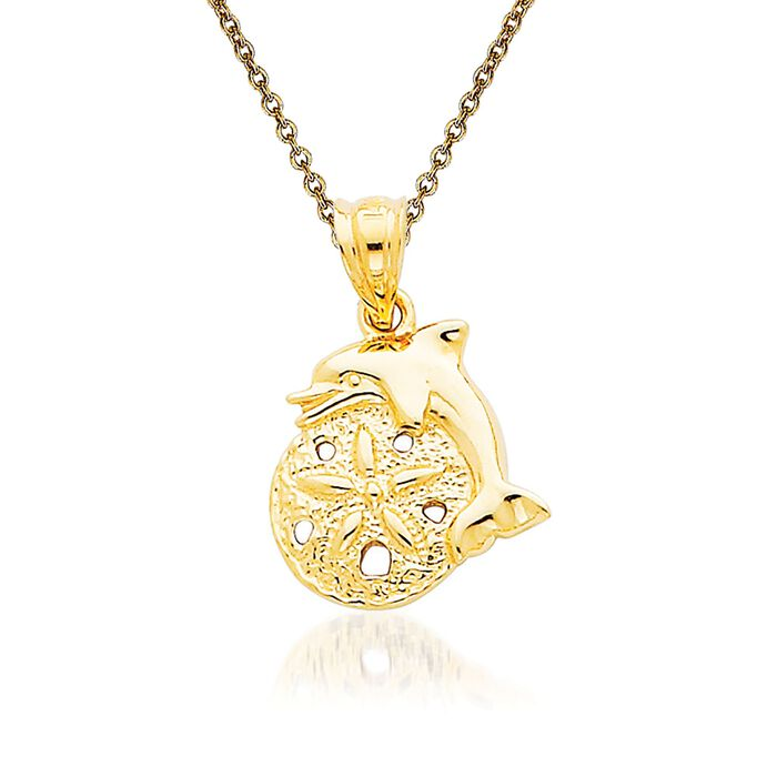 """14kt Yellow Gold Sand Dollar Pendant Necklace. 18"""""""