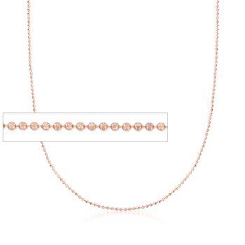 "Italian 1mm 14kt Rose Gold Adjustable Slider Bead Chain. 22"", , default"