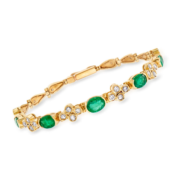 C. 1990 Vintage 3.75 ct. t.w. Emerald and 1.25 ct. t.w. Diamond Bracelet in 18kt Yellow Gold. 7""