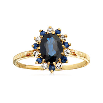 C. 1990 Vintage 1.45 ct. t.w. Sapphire and .15 ct. t.w. Diamond Border Ring in 14kt Yellow Gold, , default