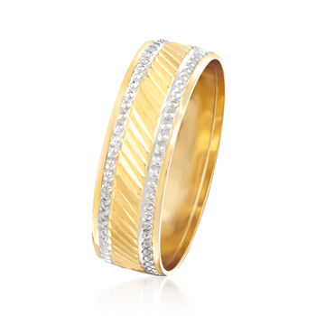 14kt Yellow Gold Ring with White Rhodium