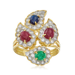 C. 1980 Vintage 1.55 ct. t.w. Multi-Gemstone and 1.30 ct. t.w. Ring in 18kt Yellow Gold , , default