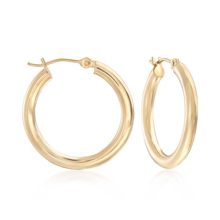 "3mm 14kt Yellow Gold Hoop Earrings. 1"", , default"