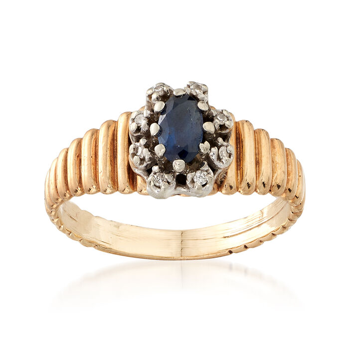 C. 1980 Vintage .25 Carat Sapphire Ring With Diamond Accents in 10kt Yellow Gold. Size 5, , default