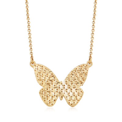 Italian Butterfly Necklace in 14kt Yellow Gold, , default