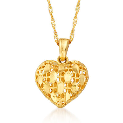 14kt Yellow Gold Puffed Heart Pendant Necklace, , default