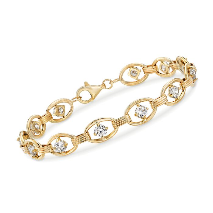 3.00 ct. t.w. CZ Oval-Link Bracelet in 14kt Yellow Gold, , default