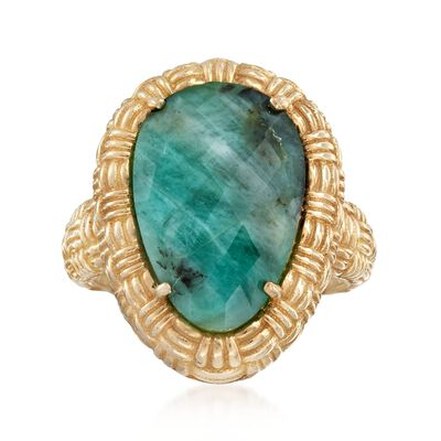 11.00 Carat Opaque Emerald Ring in 18kt Gold Over Sterling, , default