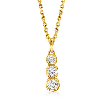 C. 1990 Vintage .60 ct. t.w. Diamond Snowman Pendant Necklace in 14kt Yellow Gold