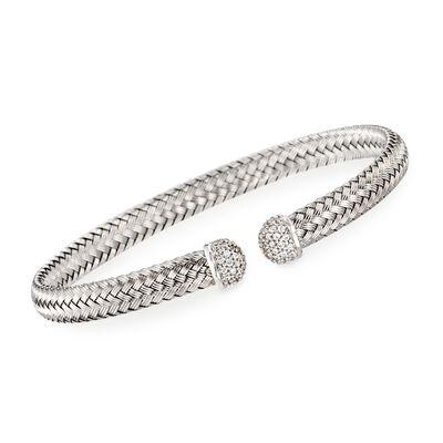 """Charles Garnier """"Mimosa"""" Italian .60 ct. t.w. CZ Cuff Bracelet in Sterling Silver"""