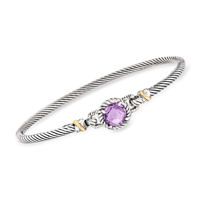 """Phillip Gavriel """"Italian Cable"""" 2.00 Carat Amethyst Bracelet in Sterling Silver with 18kt Yellow Gold. 7.5"""""""