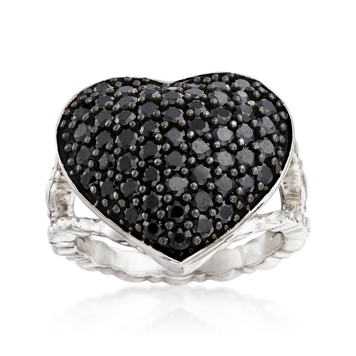 2.60 ct. t.w. Black Spinel Heart Ring in Sterling Silver, , default